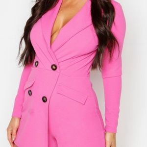 Tailored Button Front Playsuit Hot pink